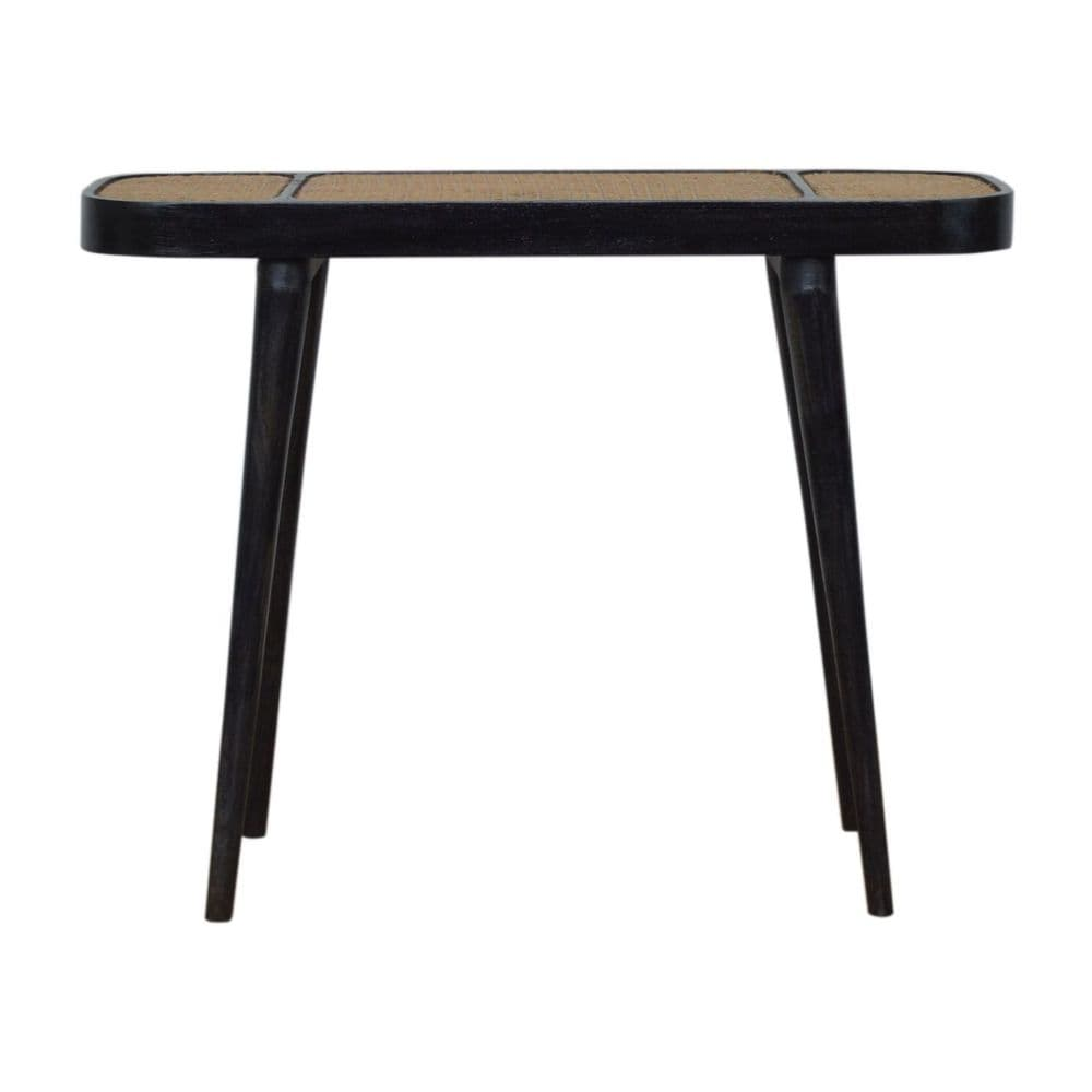 Carbon Black Rattan Console Table
